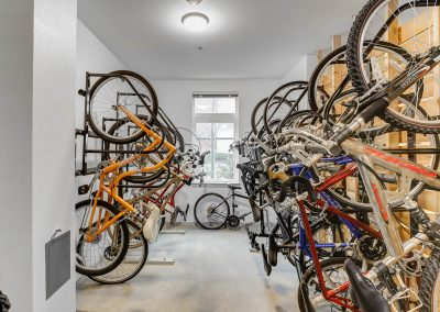 Image of a bike rack and bicycles.