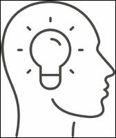 Illustration of Head with Lightbulb Inside
